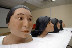 The heads of murder victims from Ciudad Juarez, as reconstructed from their skulls by the police.