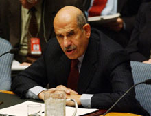 Mohamed ElBaradei, the head of the International Atomic Energy Agency, addresses the United Nations Security Council