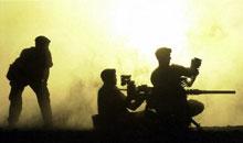 British troops train in the Omani desert.