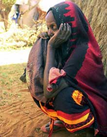 Somali refugee near the Kenyan border