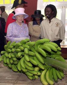 Queen Elizabeth admires Jamaican bananas