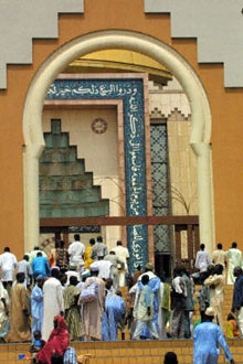 Residents of Abuja go to Friday prayers at the National Mosque, April 25, 2003