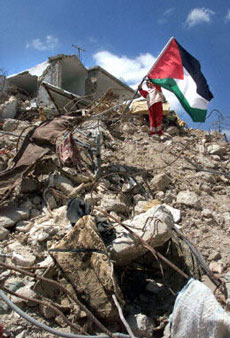 A girl raises the Palestinian flag over her destroyed home in the Jenin refugee camp