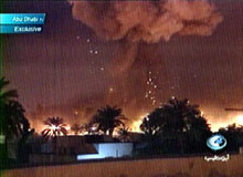 Abu Dhabi television shows the bombing of Baghdad, March 21