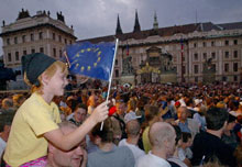 Thousands of Prague residents celebrated the June 14 annoucement that Czechs had voted to join the European Union