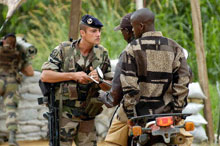 A French soldier mans a checkpoint in Congo