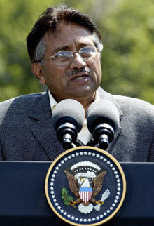 Pakistani President Gen. Pervez Musharraf addresses reporters at Camp David