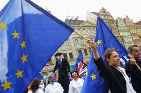 Young Poles show their support for the European Union during a pro-accession rally in Wroclaw on May 9. On June 7-8, Poland decided in a referendum to join the E.U. in 2004