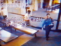 Security footage shows Mohammad Atta passing through security at the airport in Portland, ME