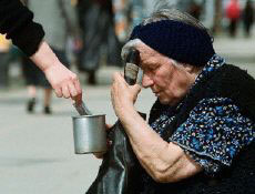 Bulgarian pensioner begs for money