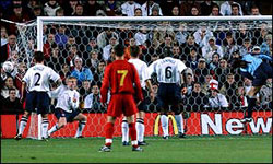 Macedonia scores against England