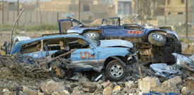 U.N. cars destroyed in the Aug. 19 attack against U.N. headquarters in Baghdad