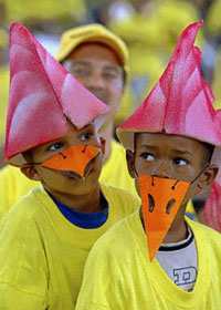 Venezuelan children participate in a rally calling for a referendum on Chavez's rule