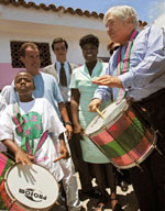 World Bank President James Wolfensohn learns to Samba