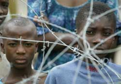 Two children look through barbed wire