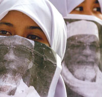 Indonesian women protest the arrest of Abu Bakar Bashir