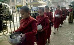 Nepalese Buddhist monks march for peace