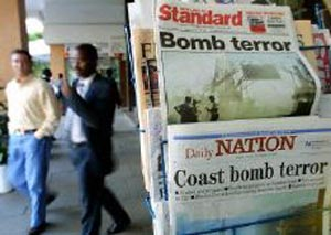 Kenyan newspapers report on the bombing of the Paradise Hotel in Mombasa
