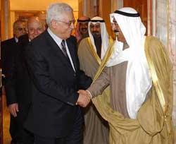 Kuwaiti Prime Minister Sheikh Sabah al-Ahmad al-Sabeh with PLO Chairman Mahmoud Abbas