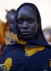 A Sudanese woman at a refugee camp in Sudan's Darfur region