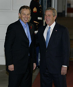 President Bush (right) and British Prime Minister Tony Blair