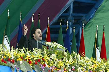 President Mohammad Khatami of Iran addresses Iranians at a rally