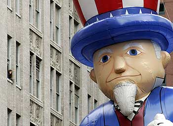 An Uncle Sam balloon at Macy's Thanksgiving Day Parade