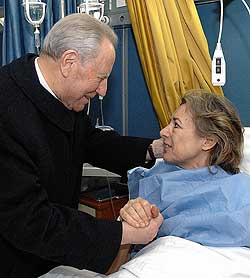 Italian President Carlo Azeglio Ciampi (left) greets freed hostage Giuliana Sgrena