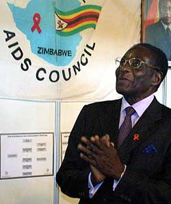 Zimbabwean President Robert Mugabe at the first national AIDS conference in Harare