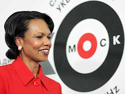 Secretary of State Condoleezza Rice arrives at Ekho Moskvy radio station