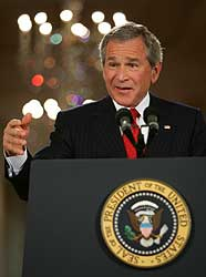 President Bush addresses a news conference