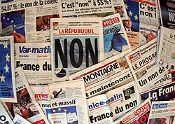 French newspapers show the results of the May 29 referendum