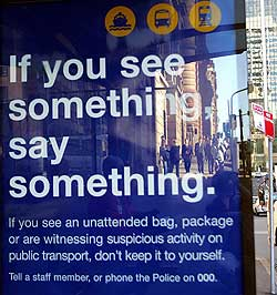 A government-sponsored anti-terrorism poster displayed at a bus stop in Sydney, Australia