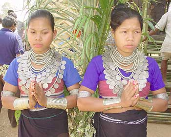 Young Reang women in traditional ornaments