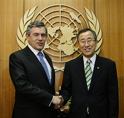 Gordon Brown with UN chief Ban Ki-moon at the UN headquarters