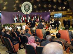 Arab delegates attend the closing session of the 16th Arab League summit