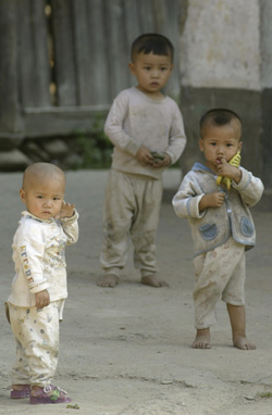 Three young Chinese boys
