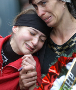 Grief-stricken relatives in Beslan