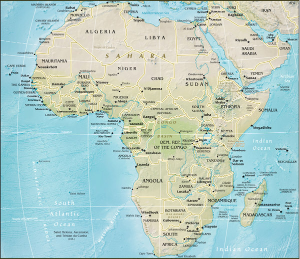 Worldpress.org - World Maps and Country Profiles: Map of Africa
