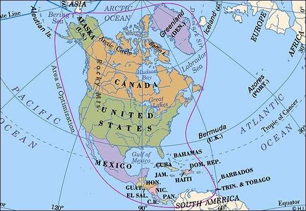 Worldpress World Maps and Country Profiles Map of North America – North America Travel Map