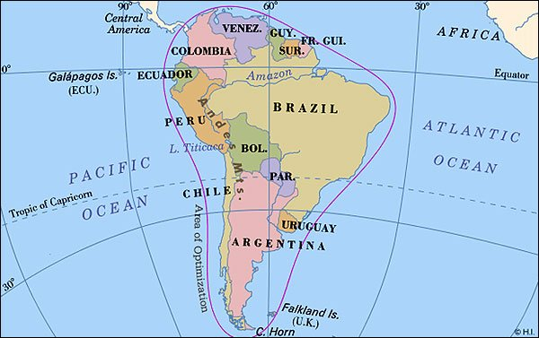 Worldpress.  World Maps and Country Profiles: Map of South America